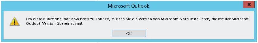 Outlook-Fehler: Word nicht installiert