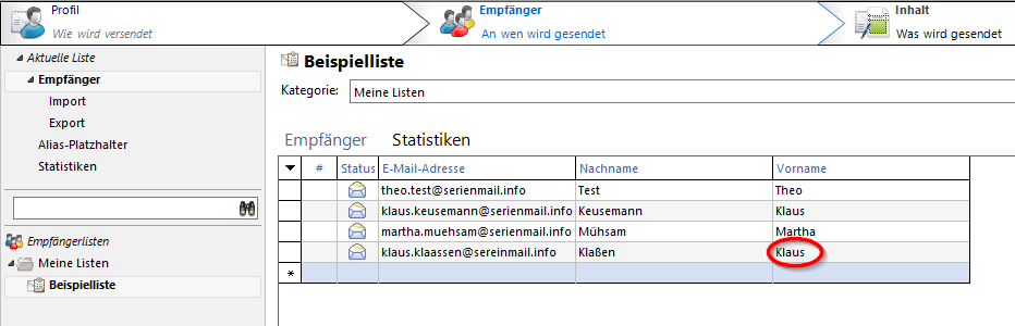 SmartSerialMail Empfängerliste