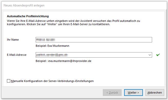 SmartSerialMail Automatische Profileinrichtung