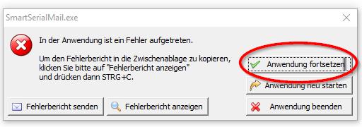 SmartSerialMail Fehlermeldung