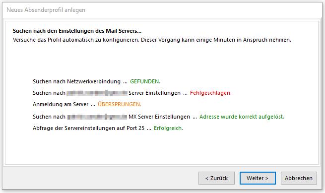 SmartSerialMail fehlende Einstellungen des Mailservers