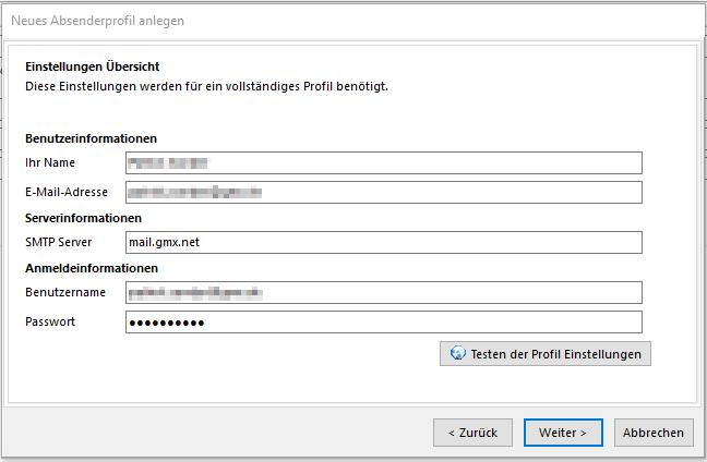 SmartSerialMail SMTP-Einstellungen