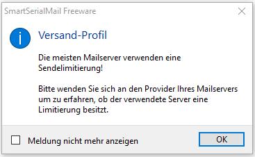 SmartSerialMail Hinweis Sendelimit