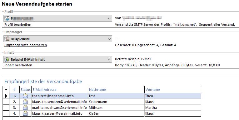 SmartSerialMail Überblick Versandaufgabe